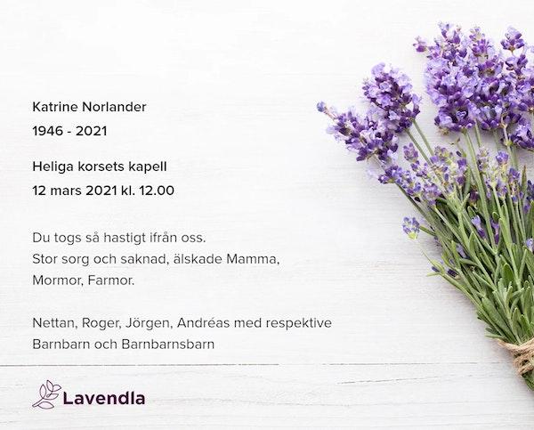 Inbjudningskort till ceremonin för Katrine Norlander