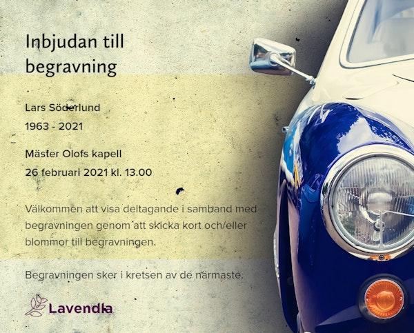 Inbjudningskort till ceremonin för Lars Söderlund