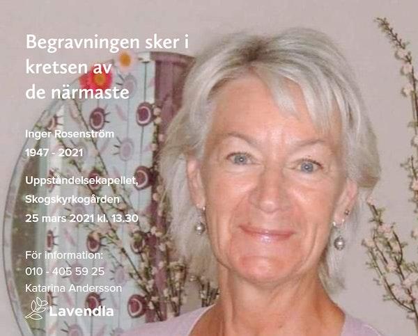 Inbjudningskort till ceremonin för Inger Rosenström