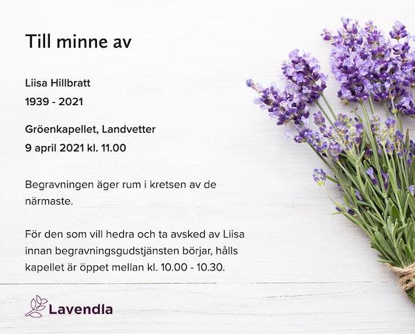 Inbjudningskort till ceremonin för Liisa Hillbratt