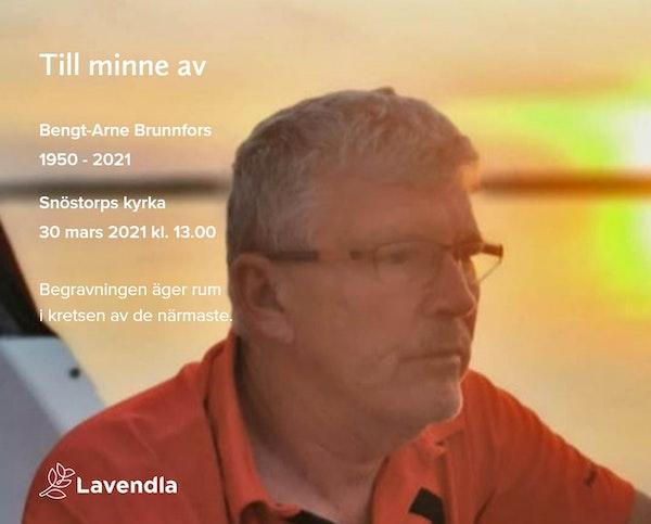 Inbjudningskort till ceremonin för Bengt-Arne Brunnfors