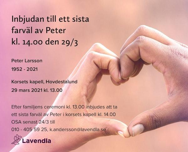 Inbjudningskort till ceremonin för Peter Larsson