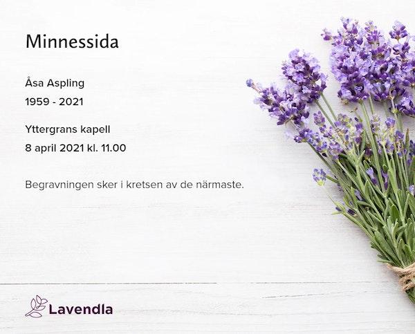 Inbjudningskort till ceremonin för Åsa Aspling