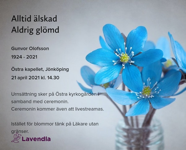 Inbjudningskort till ceremonin för Gunvor Olofsson