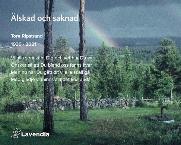 Inbjudningskort till ceremonin för Tore Ripstrand