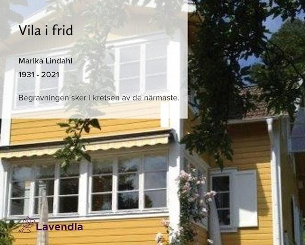 Inbjudningskort till ceremonin för Marika Lindahl