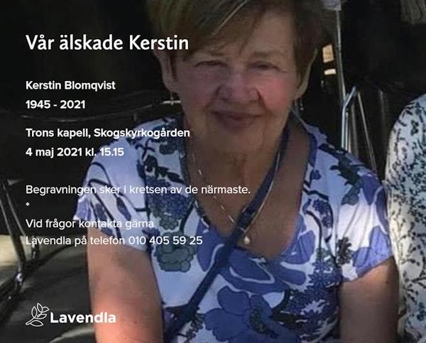 Inbjudningskort till ceremonin för Kerstin Blomqvist