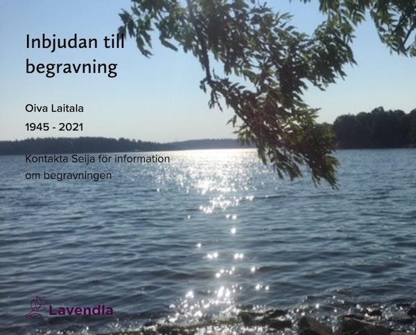 Inbjudningskort till ceremonin för Oiva Laitala