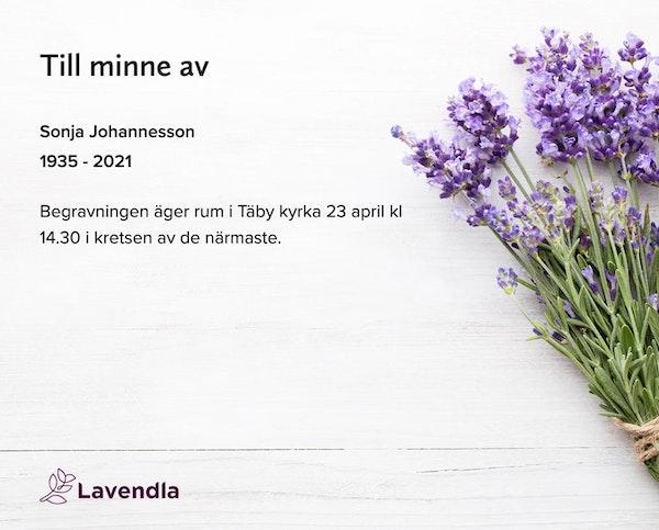 Inbjudningskort till ceremonin för Sonja Johannesson