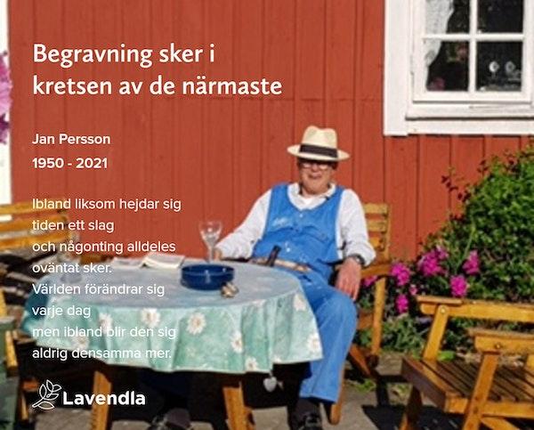 Inbjudningskort till ceremonin för Jan Persson