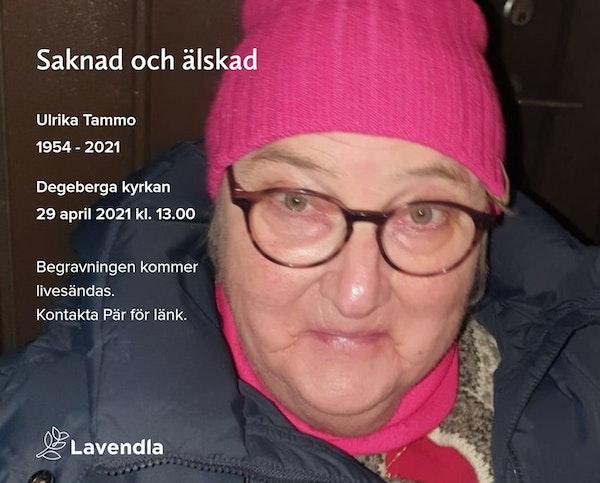 Inbjudningskort till ceremonin för Ulrika Tammo
