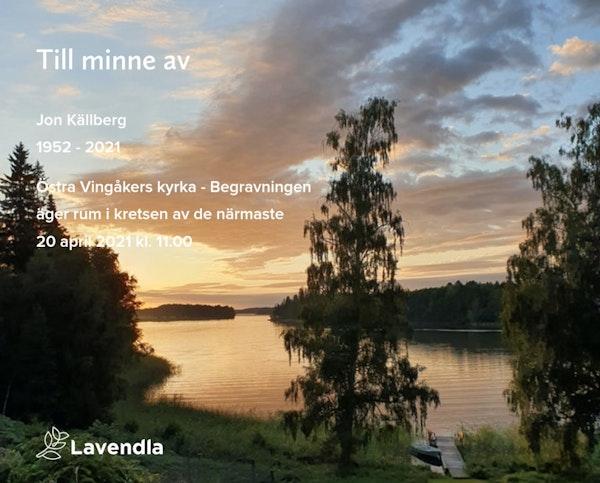Inbjudningskort till ceremonin för Jon Källberg