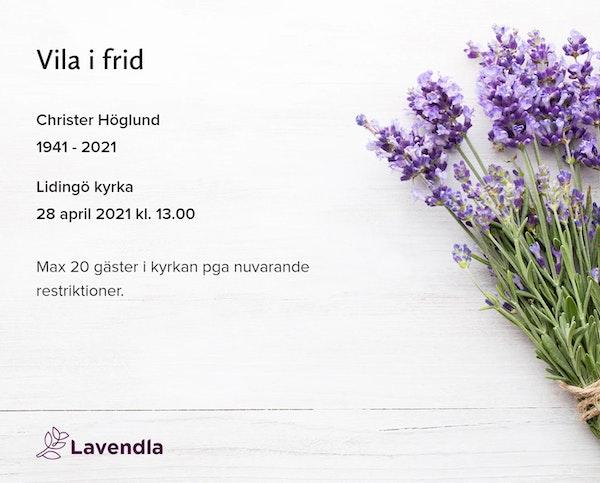 Inbjudningskort till ceremonin för Christer Höglund