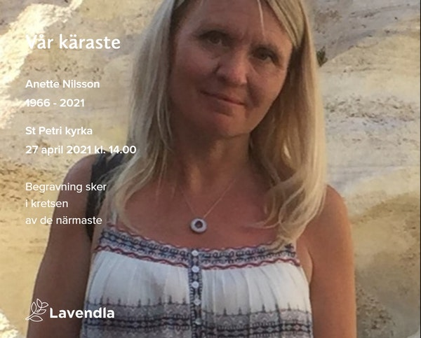 Inbjudningskort till ceremonin för Anette Nilsson