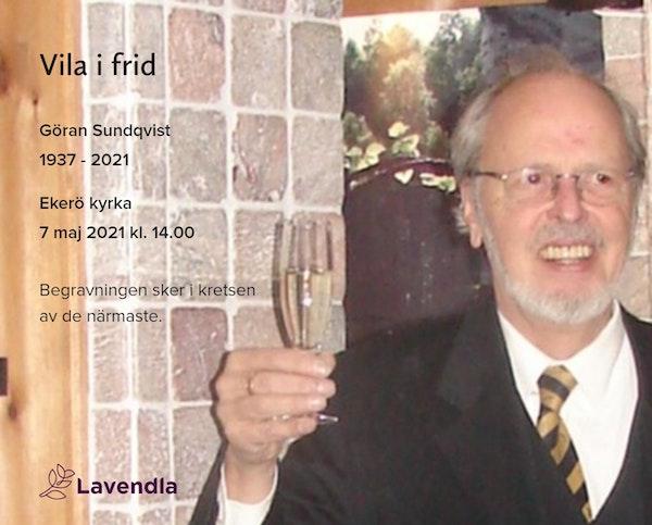 Inbjudningskort till ceremonin för Göran Sundqvist