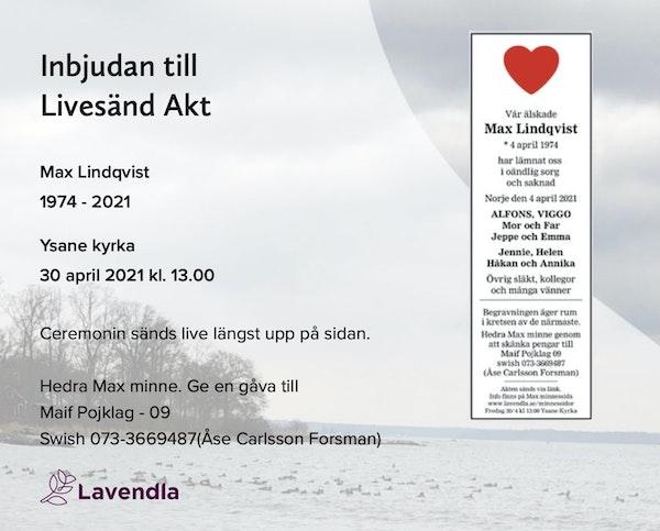 Inbjudningskort till ceremonin för Max Lindqvist