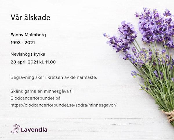 Inbjudningskort till ceremonin för Fanny Malmborg