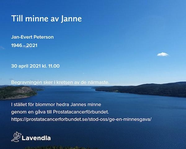 Inbjudningskort till ceremonin för Jan-Evert Peterson