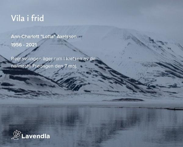 """Inbjudningskort till ceremonin för Ann-Charlott """"Lotta"""" Axelsson"""