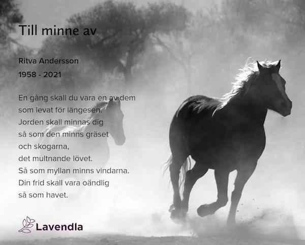 Inbjudningskort till ceremonin för Ritva Andersson